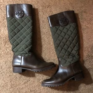 Dark brown & green quilted Tory Burch riding boots